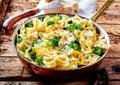 Savory broccoli bow tie pasta with lemon Royalty Free Stock Photo