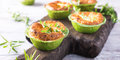 Savory cheddar cheese and leek mini quiches Royalty Free Stock Photo