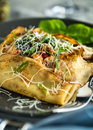 Savory crepes square with chicken and mushroom filling with parmesan Stock Photo