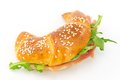 Savory croissant with ham and rocket Stock Photo