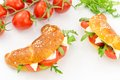 Savory croissant with tomato, arugula and cheese Stock Image