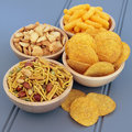 Savory snack food party selection in wooden bowls Royalty Free Stock Image