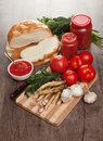 Savory tomato garlic and horseradish ingredients for its manufacture Stock Photography