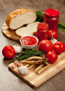 Savory tomato garlic and horseradish ingredients for its manufacture Stock Photos