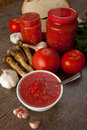 Savory tomato garlic and horseradish ingredients for its manufacture Stock Photo