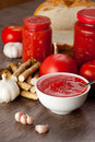 Savory tomato garlic and horseradish ingredients for its manufacture Stock Image