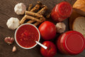 Savory tomato garlic and horseradish ingredients for its manufacture Royalty Free Stock Photo