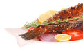 Savory: whole fryed sunfish over plate Royalty Free Stock Photography