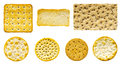 Savoury biscuit and cracker selection of seven biscuits crackers on an isolated white background biscuits are all the correct Stock Photography