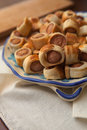 Savoury flaky pastries rolls sliced oven baked in still life set Stock Images