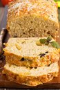 Savoury loaf cake with cheese and olives Royalty Free Stock Image