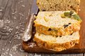 Savoury loaf cake with cheese and olives Royalty Free Stock Photos