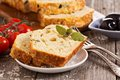 Savoury loaf cake with tomatoes cheese and olives Royalty Free Stock Image