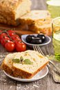 Savoury loaf cake with tomatoes cheese and olives Royalty Free Stock Photos