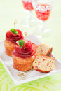 Savoury muffins with bresaola and red pepper selective focus Stock Images