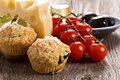 Savoury muffins with parmesan cheese and olives Stock Photo