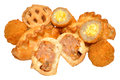 Savoury party food snacks including mini scotch eggs pork pies and cornish pasties isolated on a white background Royalty Free Stock Photos