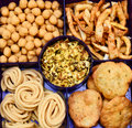 Savoury snacks chakli chana chor garam mathri sakhe kachori Stock Photo