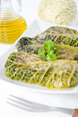 Savoy cabbage rolls on white dish. Royalty Free Stock Photo