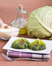Savoy cabbage rolls on white dish. Royalty Free Stock Photography
