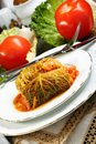 Savoy cabbage stuffed with meat. Royalty Free Stock Image