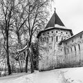 Savvino-Storozhevsky monastery in Zvenigorod in winter day. Moscow region. Royalty Free Stock Photo