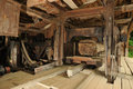 Saw mill ancient for wood processing Royalty Free Stock Image