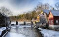 Saw mill river dam winter Stock Image