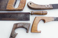 Saw old handsaw isolated vintage tools arranged Stock Image