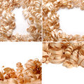 Sawdust over the white background collage Stock Image