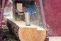 Sawing boards from logs Royalty Free Stock Photo