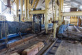 Inside a sawmill Royalty Free Stock Photo