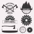 Sawmill logo set Royalty Free Stock Photo