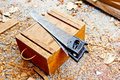 Saws for cutting wood woodworking and construction background Royalty Free Stock Photo