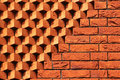 Sawtooth pattern brickwork. Decorative red brick wall as background Royalty Free Stock Photo