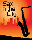 Sax in the city Royalty Free Stock Image