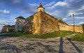 Saxon brasov fortress transylvania romania sunset view of part of the city outer fortification system stone citadel was built in Royalty Free Stock Photos