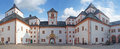 A saxon castle courtyard tower and gate with crest of the augustusburg in saxony germany panoramic Royalty Free Stock Image