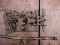 Saxon old door lock in Sanpetru, Transylvania Royalty Free Stock Photo