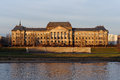 Saxon state ministry of finance in dresden building over elbe river saxony germany Stock Photos