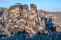 Saxon Switzerland rock formation in winter time Royalty Free Stock Photo