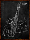 Saxophone drawing sketching on blackboard music wallpaper Stock Photo