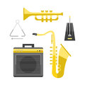 Saxophone icon music classical sound instrument vector illustration and brass entertainment golden band design equipment
