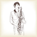 Saxophone man showing free hand drawing sketch vector