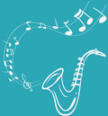 Saxophone melody vector illustration of simple white on blue Stock Images