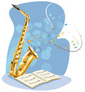 A saxophone with a musical book illustration of on white background Stock Photography
