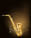 A saxophone with musical notes illustration of Royalty Free Stock Photos