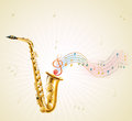 A saxophone with musical notes illustration of on white background Royalty Free Stock Image