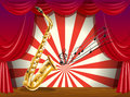 A saxophone and the musical notes at the stage illustration of Royalty Free Stock Images