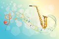 A saxophone and the musical symbols illustration of Royalty Free Stock Photography